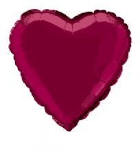 Heart Shaped Burgundy Foil Helium Balloon